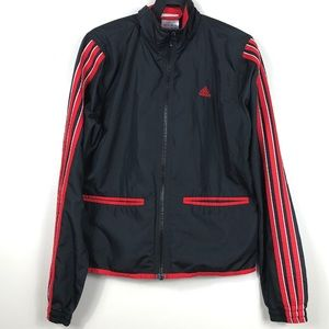 Adidas Thin Shell Raincoat with Red Stripes